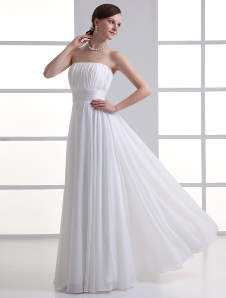 Milanoo Ivory Sheath Strapless Zipper Chiffon Wedding Dress