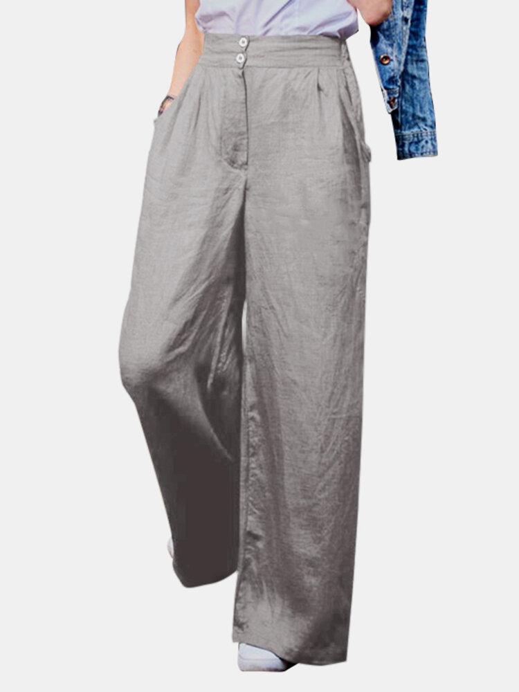 Casual Solid Color Back Elastic Waist Loose Cotton Pants