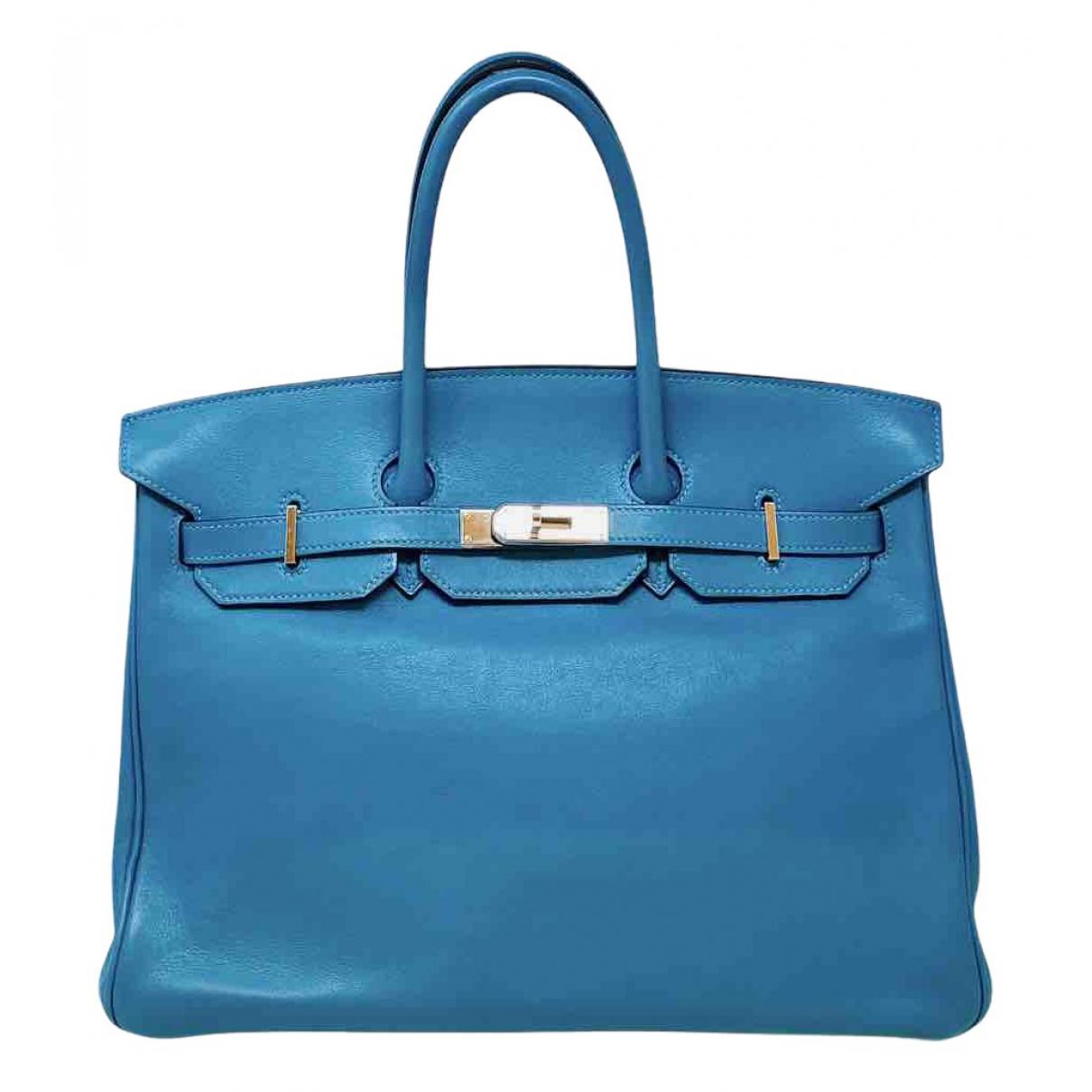 Hermès Birkin 35 Blue Leather handbag for Women N
