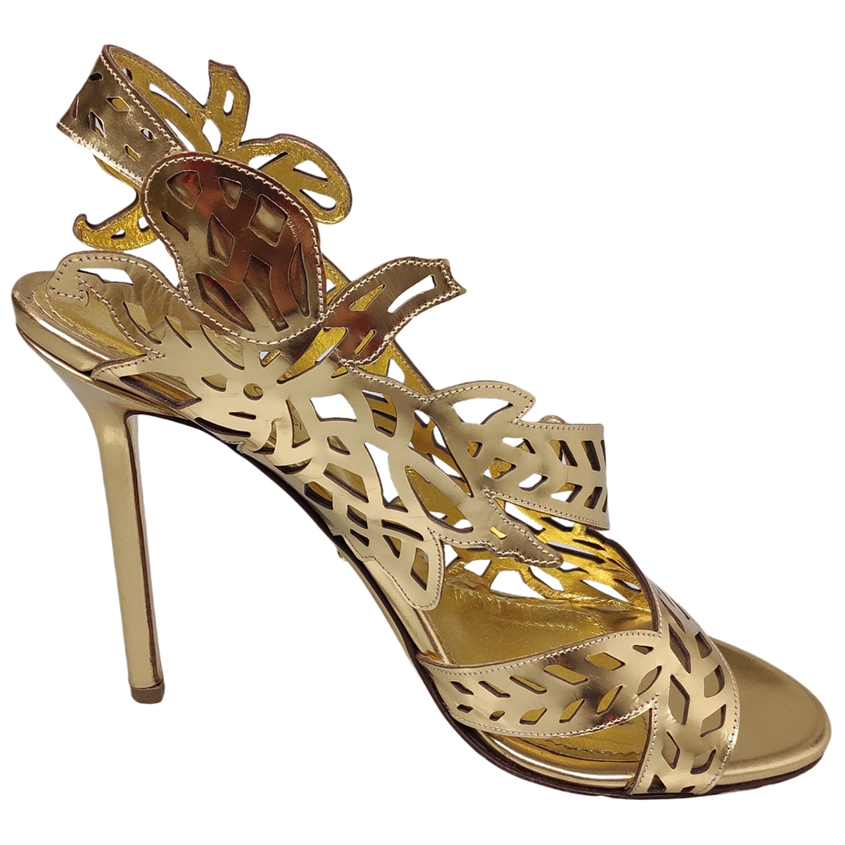 Sergio Rossi \N Gold Patent leather Sandals for Women 39 EU