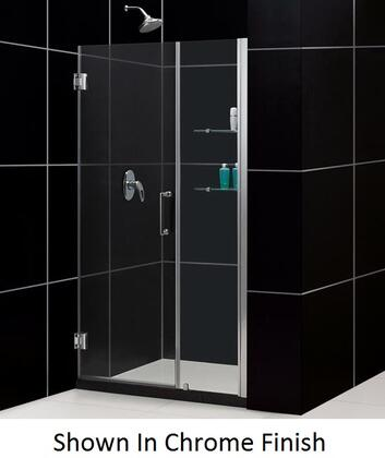 SHDR-20447210S-04 Unidoor 44-45 In. W X 72 In. H Frameless Hinged Shower Door With Shelves In Brushed