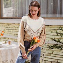 Jersey tejido mullido con encaje en contraste de color combinado