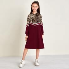 Kleid mit Streifen, Band, Leopard Muster Einsatz und Kapuze