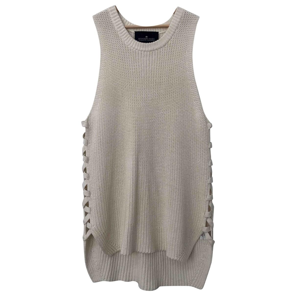 Designers Remix - Pull   pour femme en coton - blanc