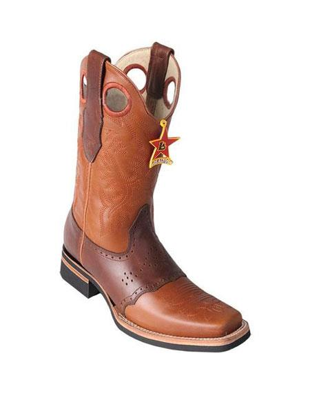 Men's Los Altos Square Toe Boots Honey & Brown Saddle Rubber Sole