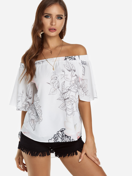 Yoins White Floral Print Off The Shoulder Blouse With Lining