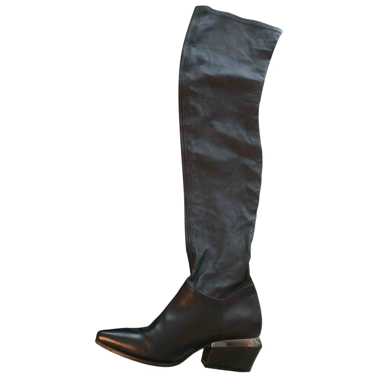Vic Matié \N Black Leather Boots for Women 37 EU