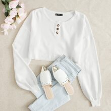 Buttoned Half Placket Crop Sweater