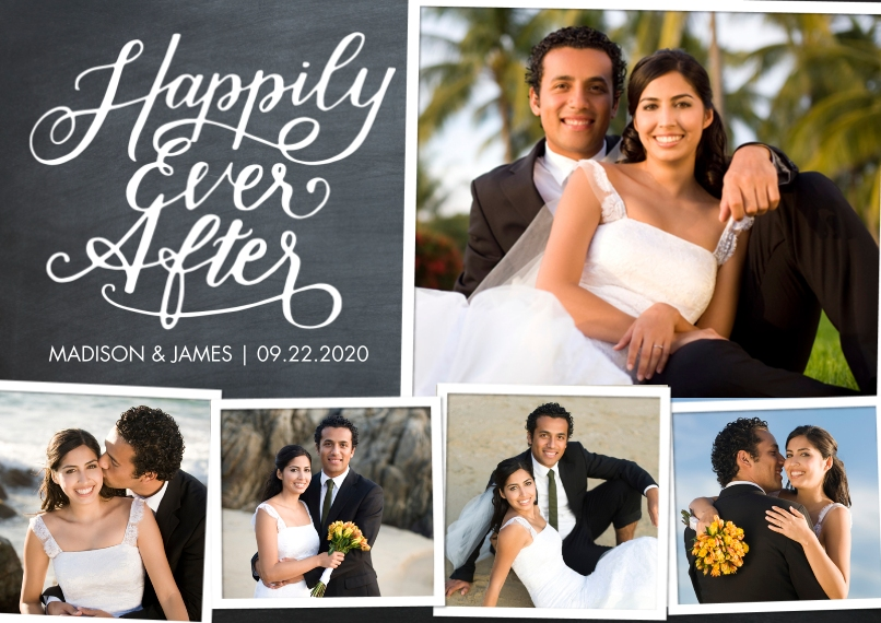 Just Married 5x7 Cards, Standard Cardstock 85lb, Card & Stationery -Just Married Happily Ever