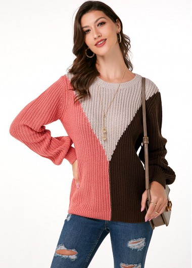 Trendy Round Neck Long Sleeve Color Block Sweater - M