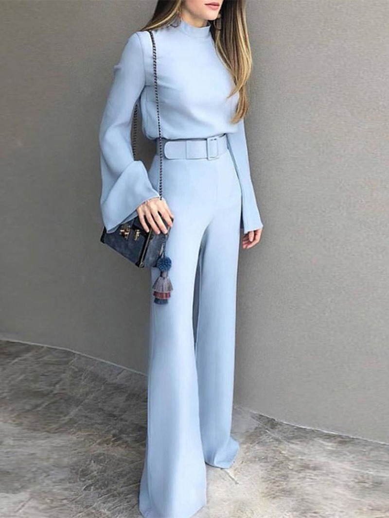 Ericdress Western Belt Plain Slim Jumpsuit