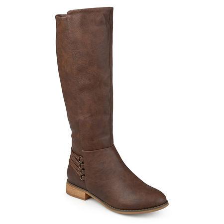 Journee Collection Womens Marcel Riding Boots Block Heel, 6 Medium, Brown