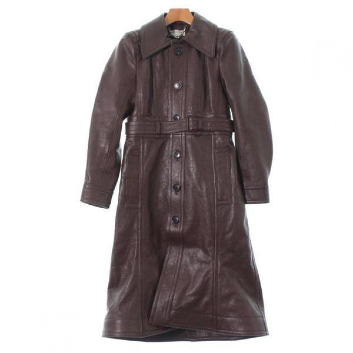 Balenciaga - Manteau   pour femme en cuir - marron
