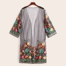 Floral Embroidered Mesh Kimono