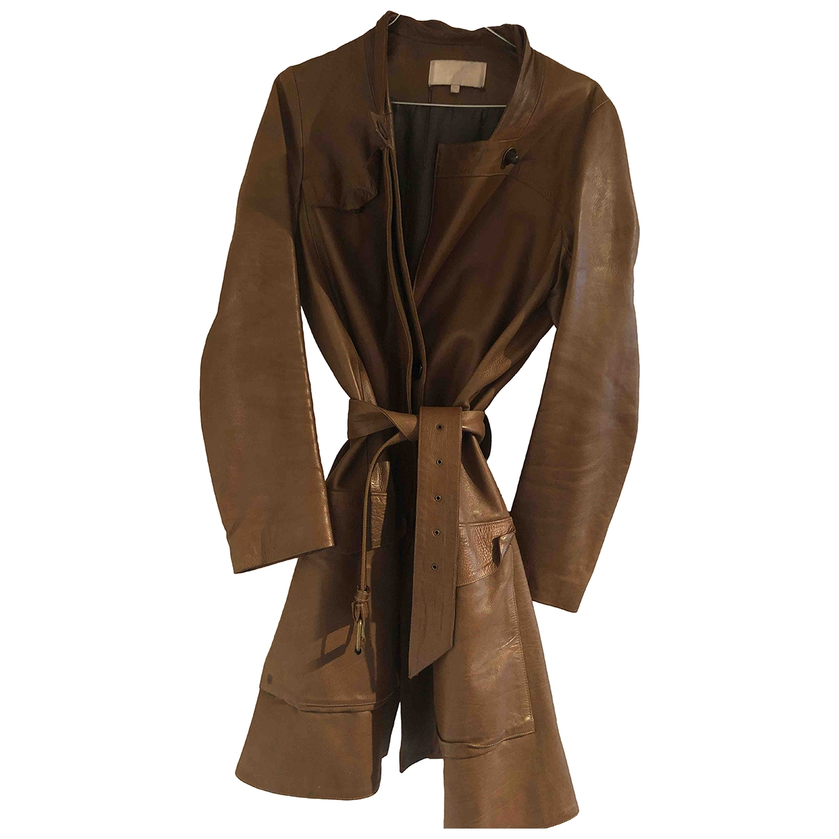 Vanessa Bruno \N Camel Leather coat for Women 38 FR