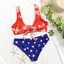 Star Print Knot Front Bikini Swimsuit