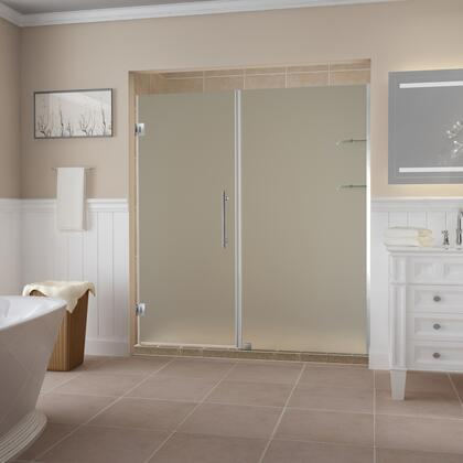 SDR960F-SS-6531-10 Belmore Gs 64.25 To 65.25 X 72 Frameless Hinged Shower Door With Frosted Glass And Glass Shelves In Stainless