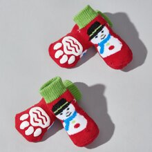4pcs Christmas Snowman Pattern Dog Socks