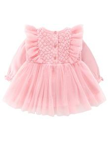 Vestidos bebe Boton Liso Dulce