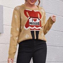 Drop Shoulder Christmas Pattern Sweater