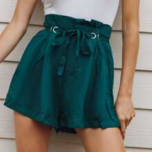 Paperbag Waist Boxy Pleated Belted Shorts
