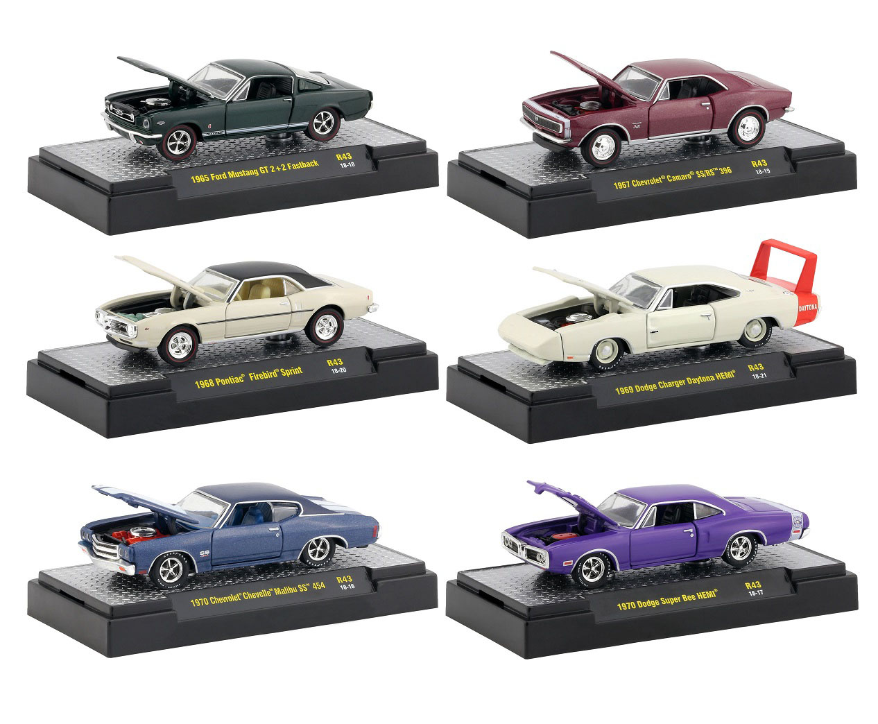 Detroit Muscle 6 Cars Set Release 43 IN DISPLAY CASES 1/64 Diecast Model Cars by M2 Machines