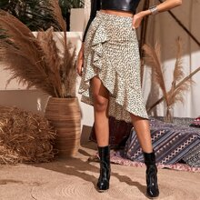 Ruffle Asymmetrical Wrap Skirt