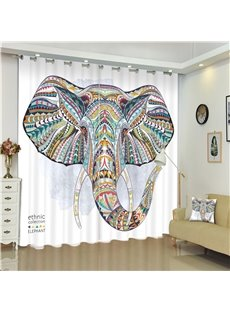 3D Elephant Head Printed Ethnic Style Thick Polyester 2 Pieces Decorative Custom Curtain