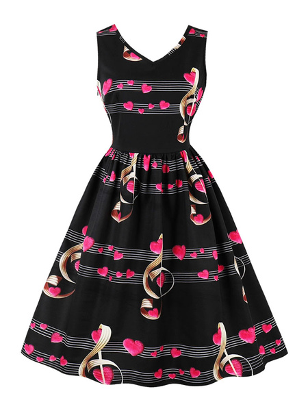 Milanoo Black Vintage Dress 1950s Hearts Printed V Neck Sleeveless Midi Dress