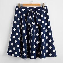 Plus Tie Front Polka Dot Skirt