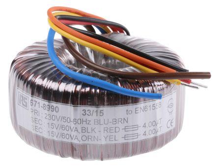 RS PRO 230V ac, 2 x 15V ac Toroidal Transformer, 120VA 2 Output