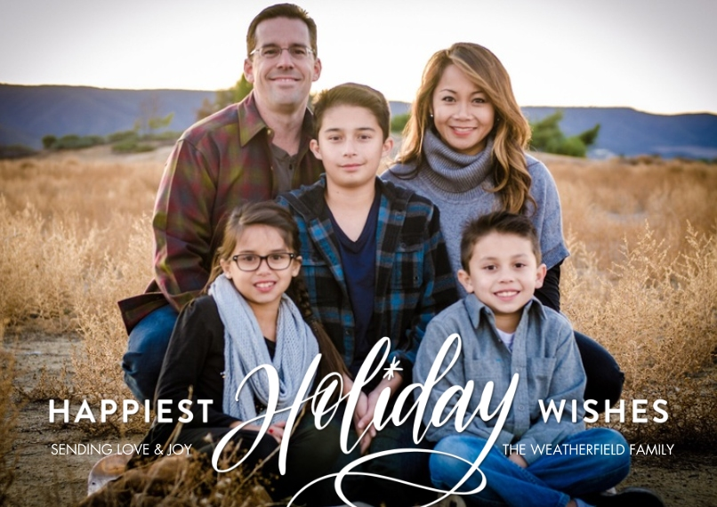 Holiday Photo Cards 5x7 Cards, Premium Cardstock 120lb with Scalloped Corners, Card & Stationery -Holiday Happiest Wishes by Tumbalina
