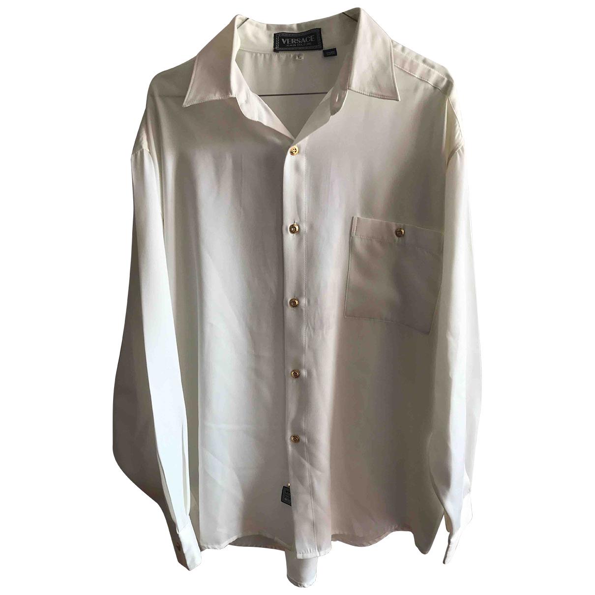 Versace Jeans N White Silk Shirts for Men L International
