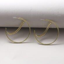 Chain Decor Cuff Hoop Earrings