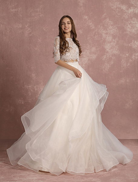 Milanoo 2 Piece Wedding Dress Lace Organza Backless Summer Wedding Dresses 2020 Half Sleeve A Line Tiered Bridal Dress With Court Train