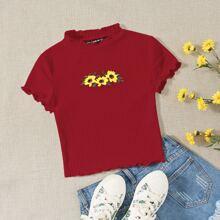T-Shirt mit Sonneblume Stickereien
