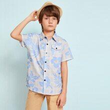 Jungen Hemd mit Tasche, Blumen Muster und Plaid