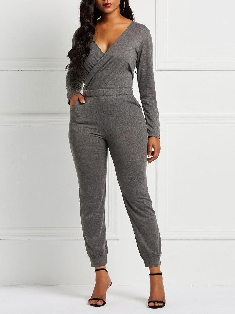 Ericdress Plain Slim Pocket Elastic Waist Women's Jumpsuit