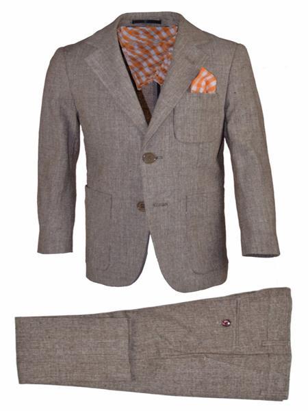 Mens 2pc Notch Lapel Tan Linen Suit And Pant