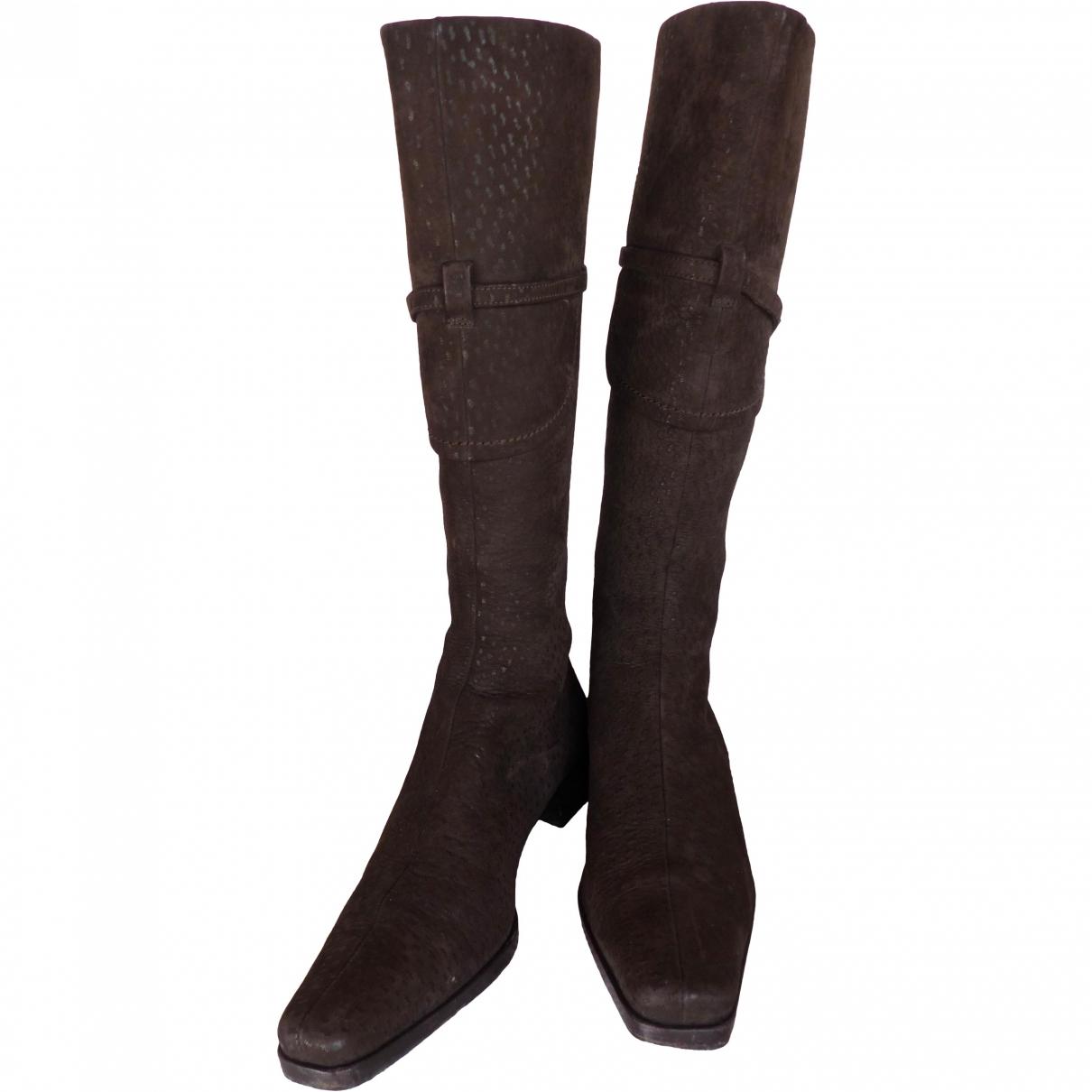 Prada \N Brown Ostrich Boots for Women 38.5 EU