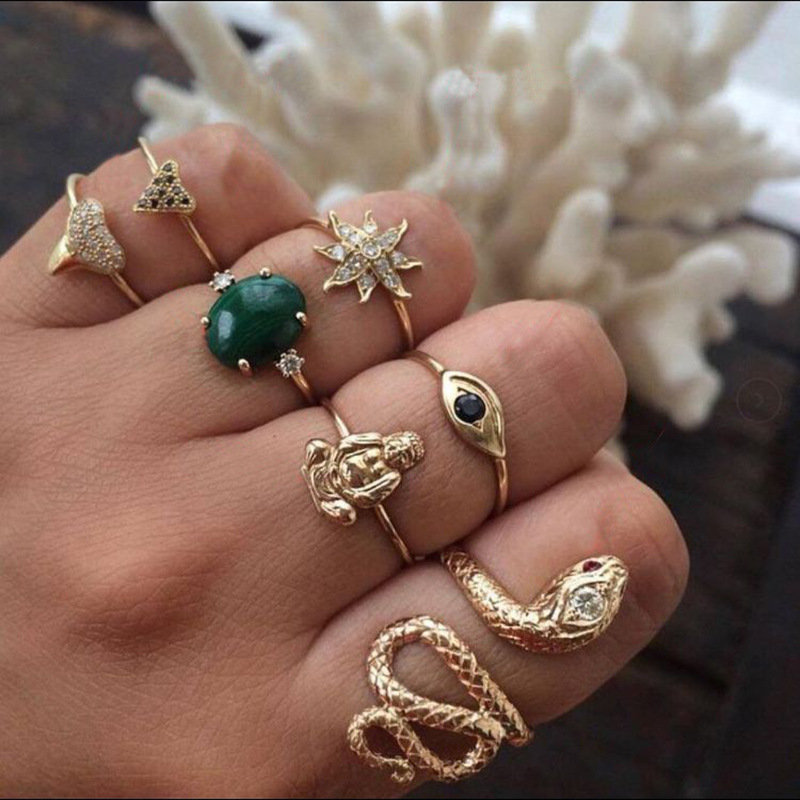 Vintage Geometric Rhinestone Rings Set Sun Flower Snake Metal Knuckle Rings Ethnic Jewelry