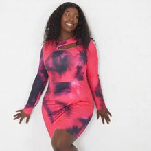 Plus Tie Dye Cut Out Front Bodycon Dress