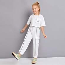 Girls Slogan Graphic Flap Pocket Tee & Sweatpants Set