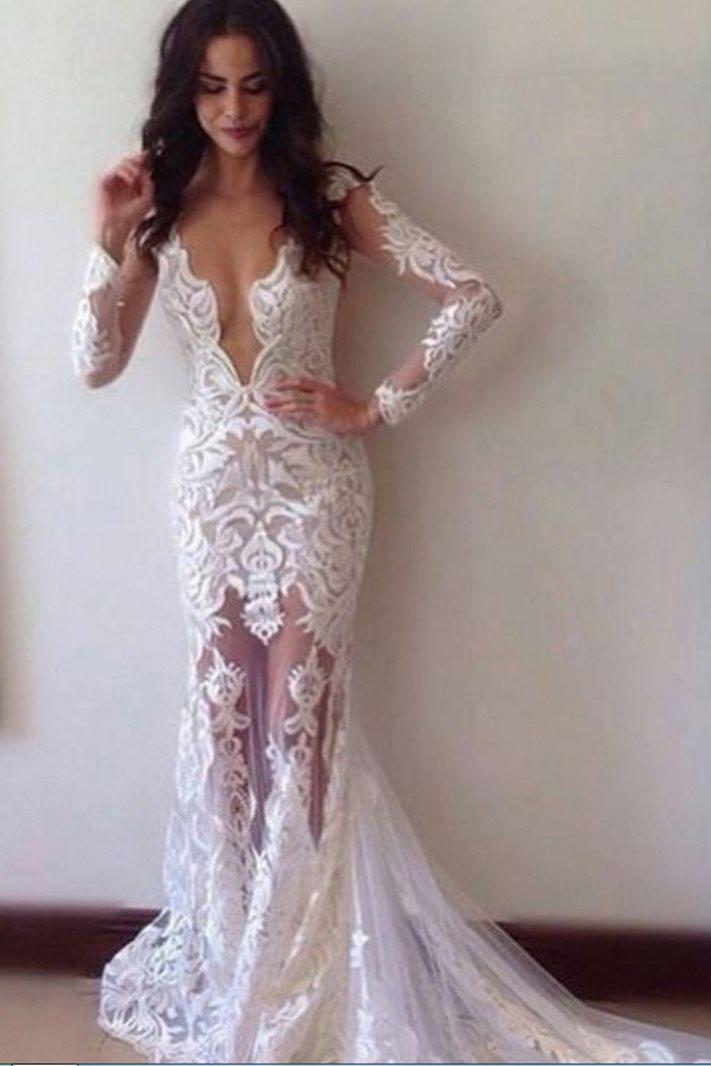 Ericdress Lace Sheath Beach Wedding Dress