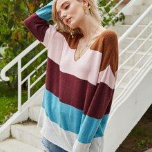 Verschiedenfarbig Colorblocks Laessig Pullover