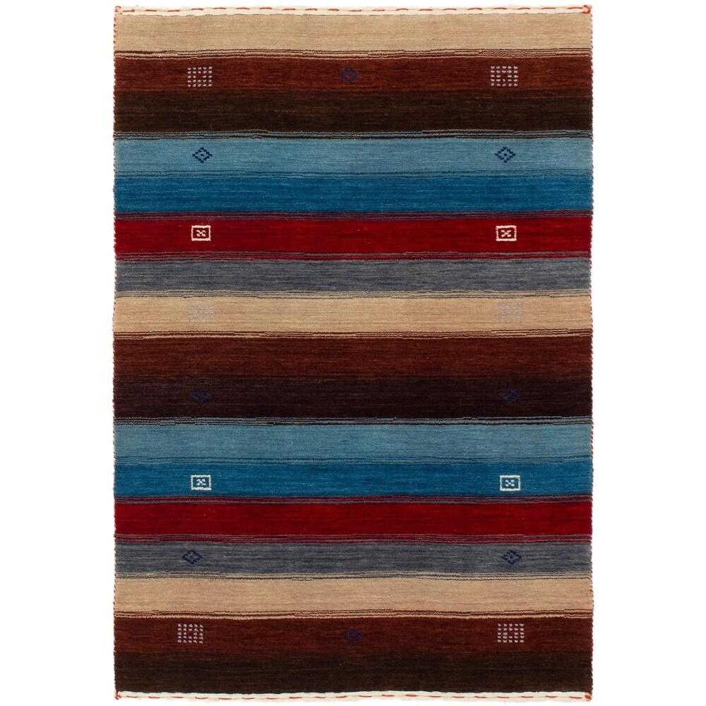 ECARPETGALLERY Hand-knotted Kashkuli Gabbeh Beige, Dark Brown Wool Rug - 3'1 x 4'10 (Beige/ Dark Brown - 3'1 x 4'10)