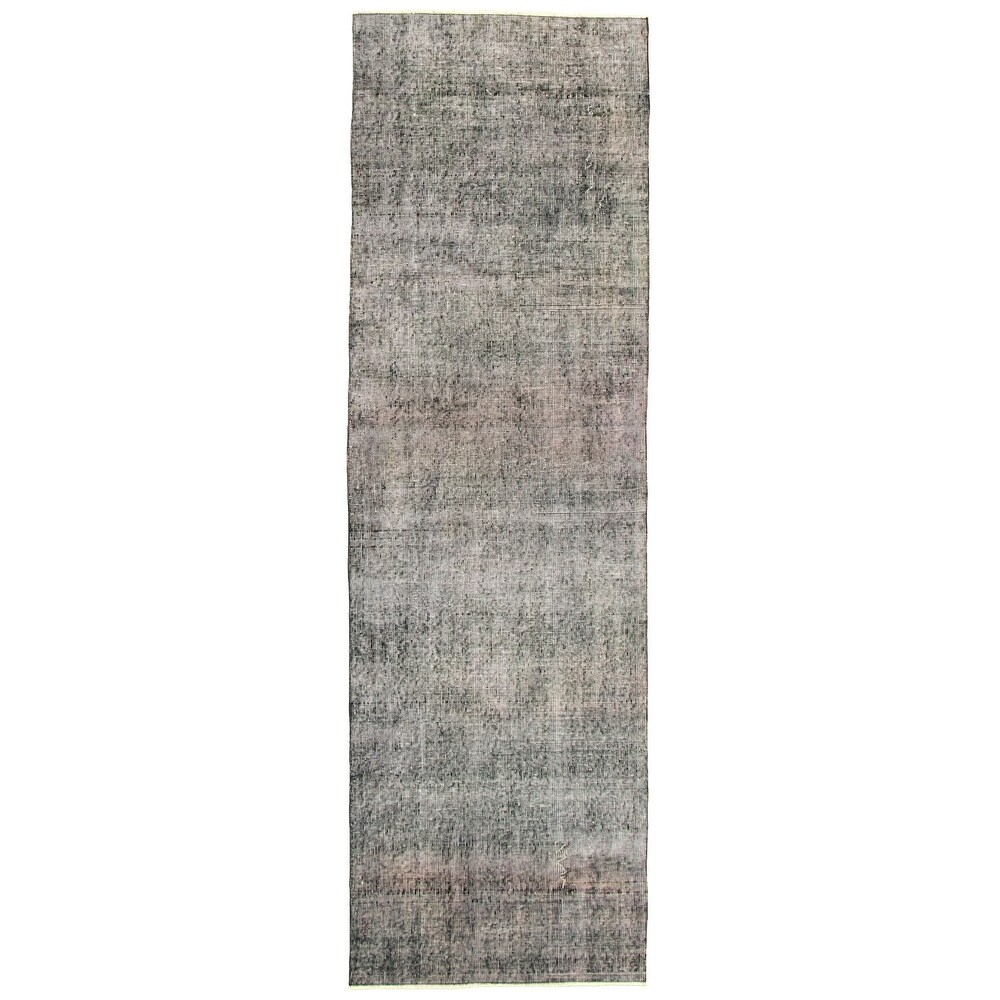ECARPETGALLERY Hand-knotted Color Transition Black Wool Rug - 29 x 92 (Black - 29 x 92)