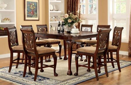 Petersburg II Collection CM3185PT8PC 9-Piece Dining Room Set with Rectangular Table and 8 Side Chairs in Cherry