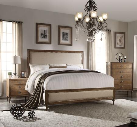 Inverness Collection 26080Q3SET 3 PC Bedroom Set with Queen Size Bed  Chest and Nightstand in Reclaimed Oak