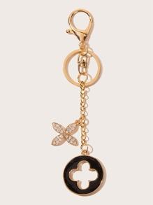 Rhinestone Decor Clover Charm Keychain